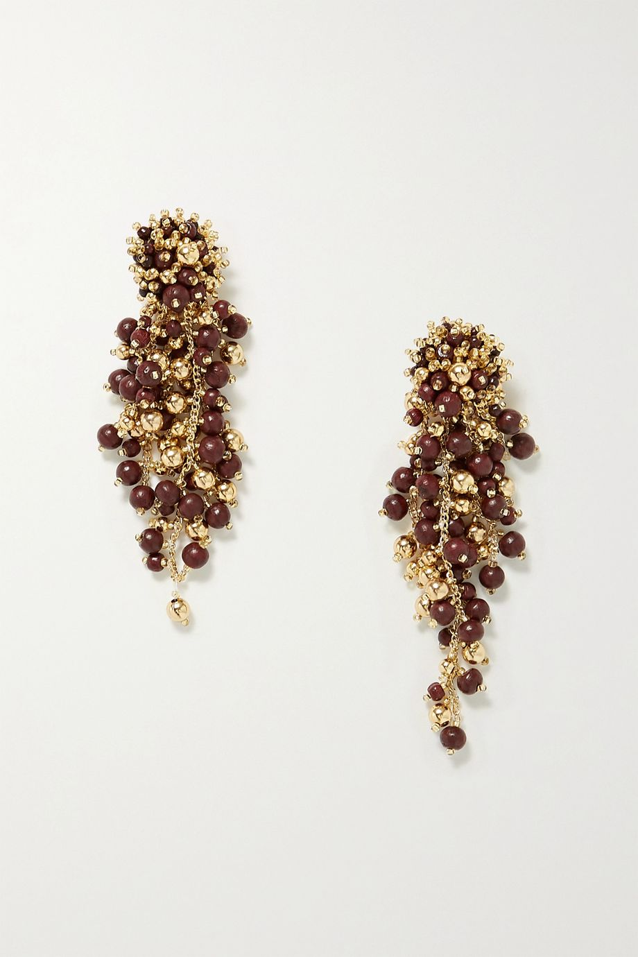 Oscar de la Renta Gold-tone wood clip earrings