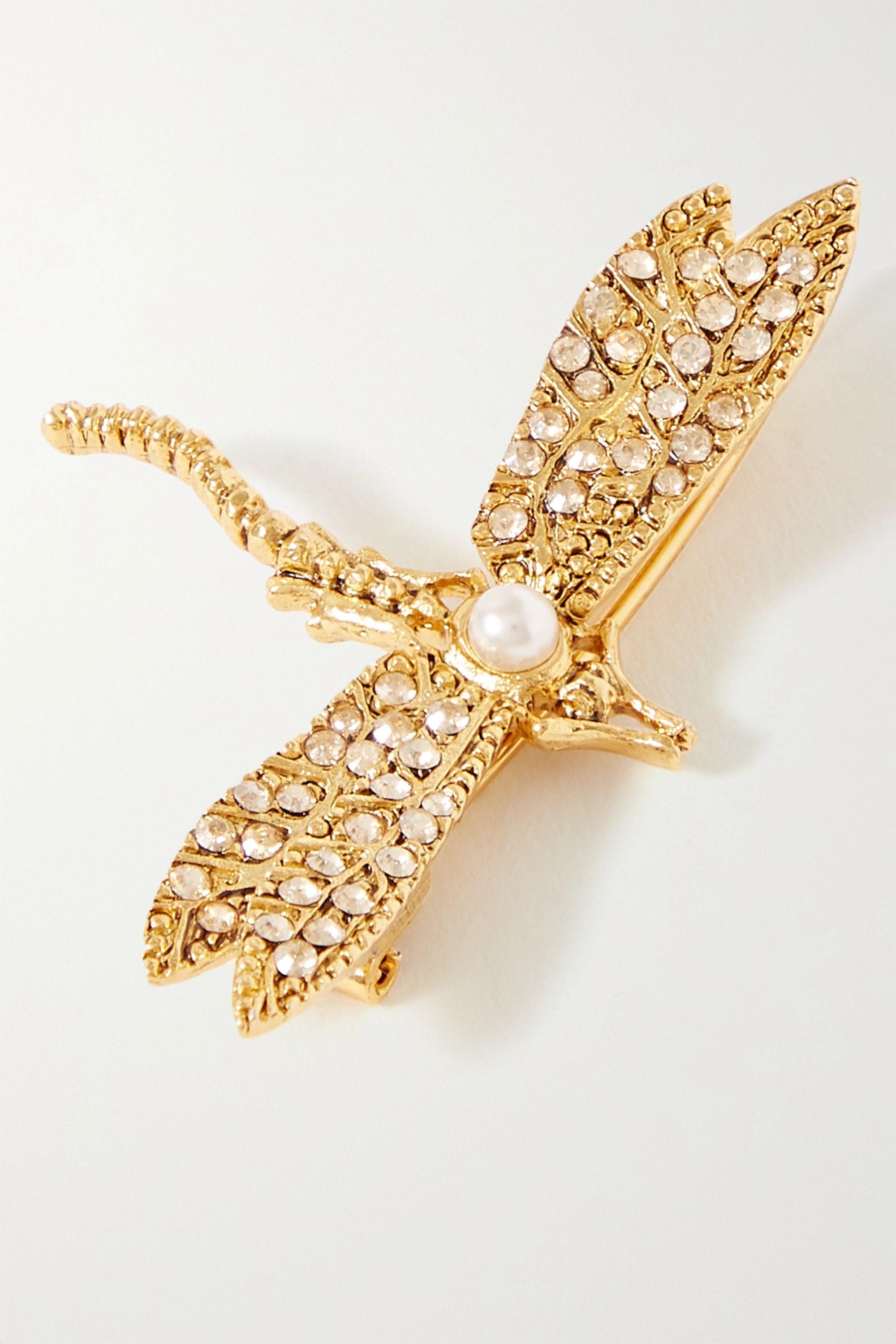 Oscar de la Renta Gold-tone crystal and faux pearl hair clip