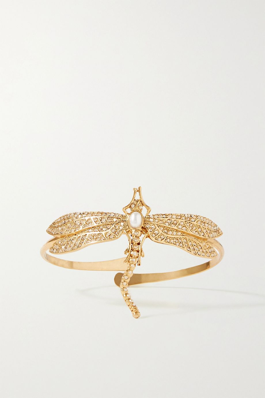 Oscar de la Renta Gold-tone, crystal and faux pearl arm cuff