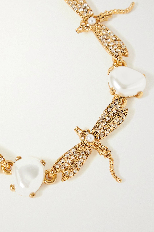Oscar de la Renta Gold-tone, faux pearl and crystal necklace
