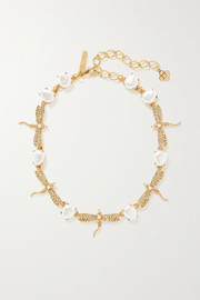 Gold-tone, faux pearl and crystal necklace