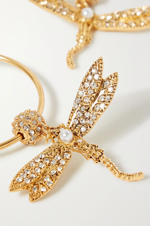 Oscar de la Renta Gold-tone, crystal and faux pearl hoop earrings