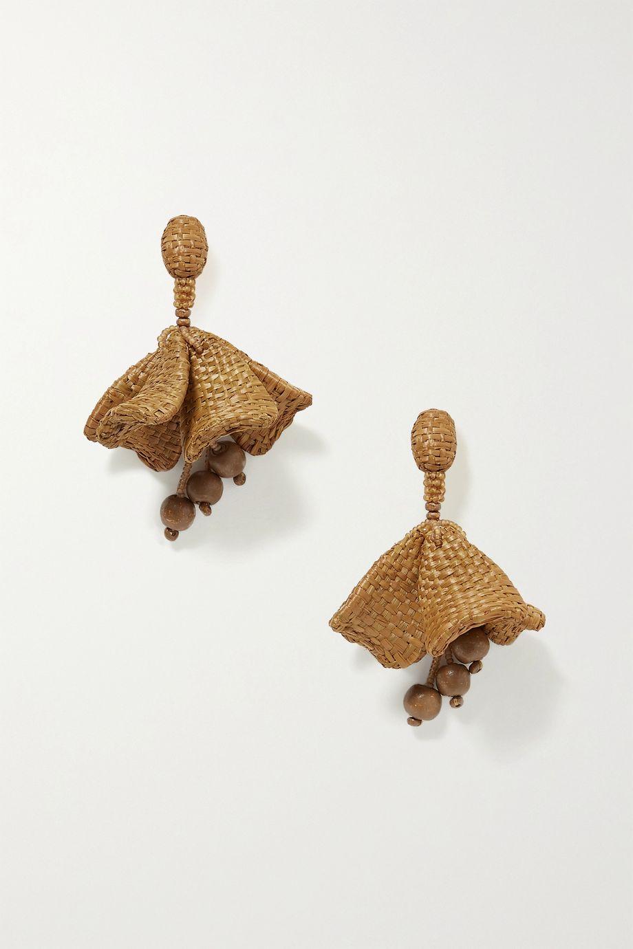 Oscar de la Renta Raffia and bead clip earrings