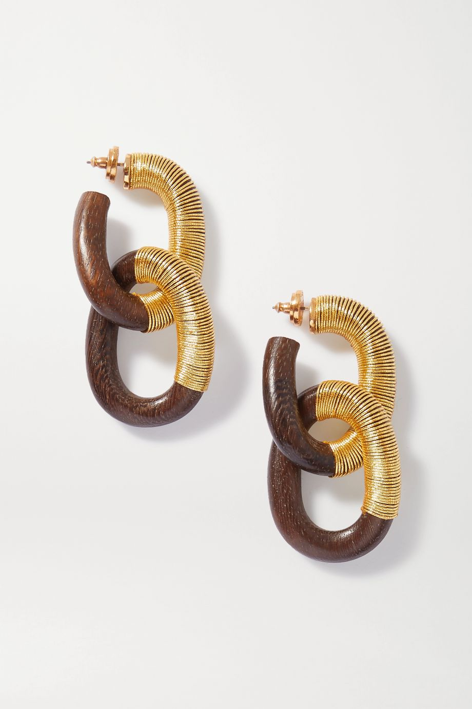 Oscar de la Renta Wood and cord earrings