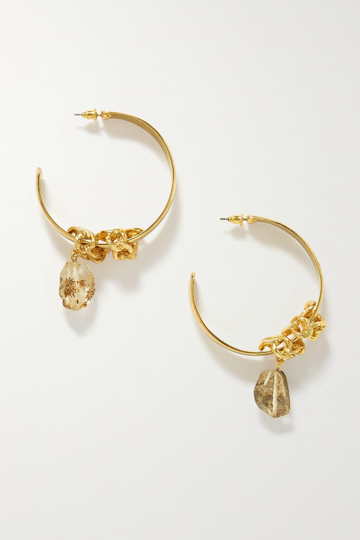 Oscar de la Renta Gold-tone quartz hoop earrings