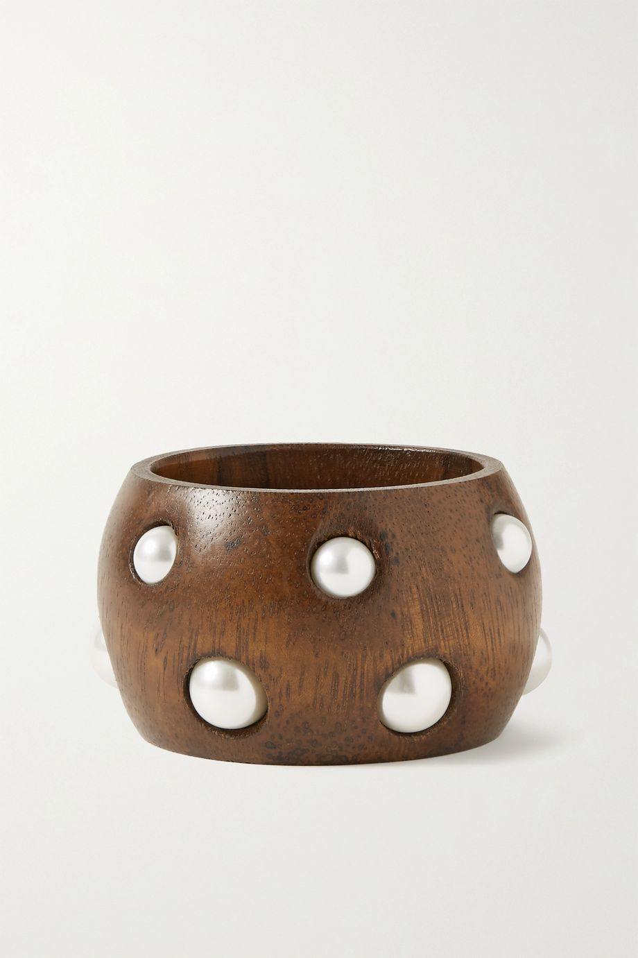 Oscar de la Renta Wood and faux pearl bangle