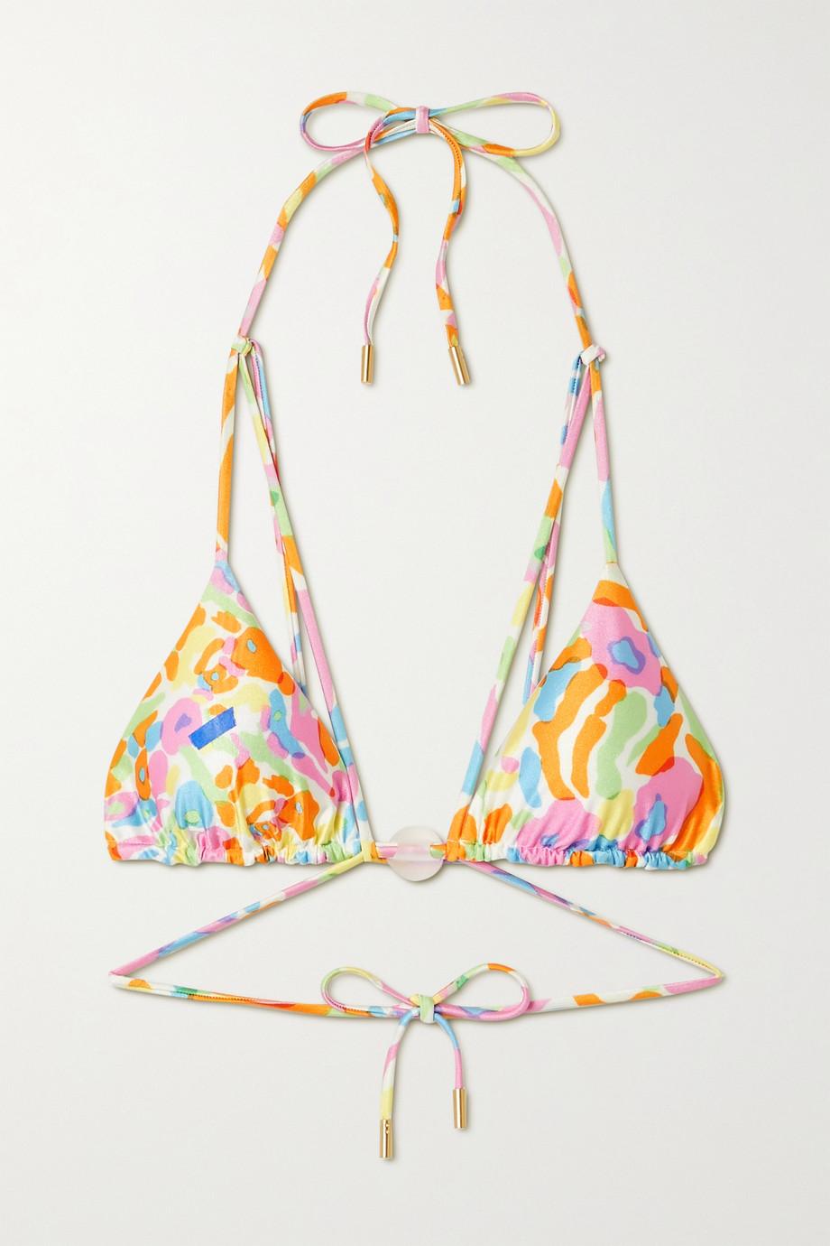 Cult Gaia Embellished printed triangle bikini top
