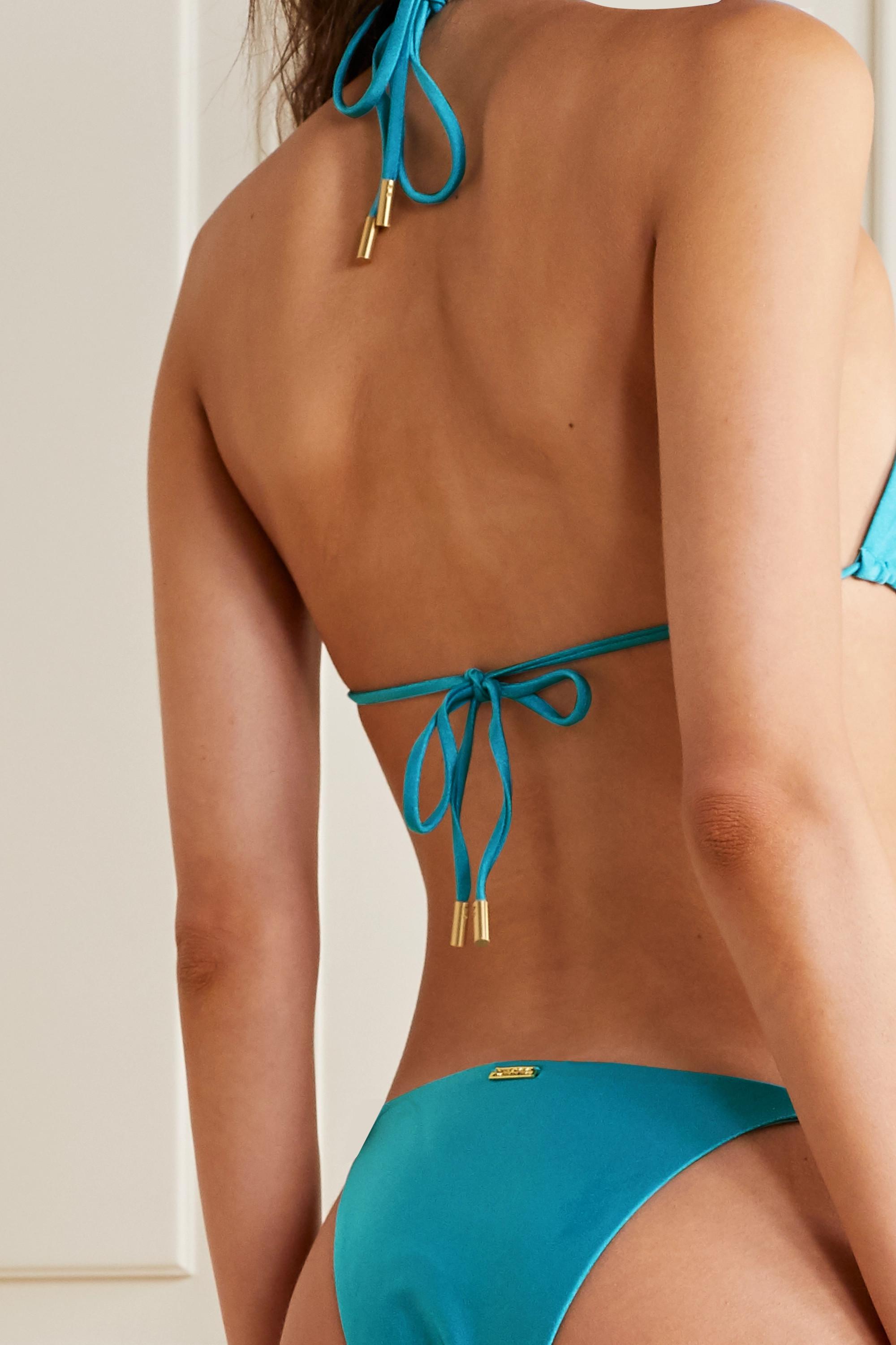 Cult Gaia Zoey embellished triangle halterneck bikini top