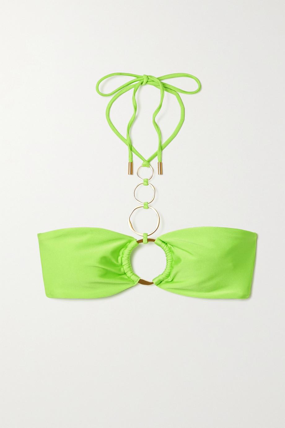 Cult Gaia Allie embellished halterneck bikini top
