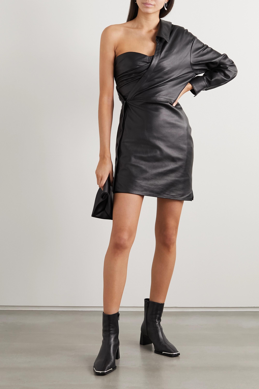 RtA Lana one-sleeve ruched leather mini dress