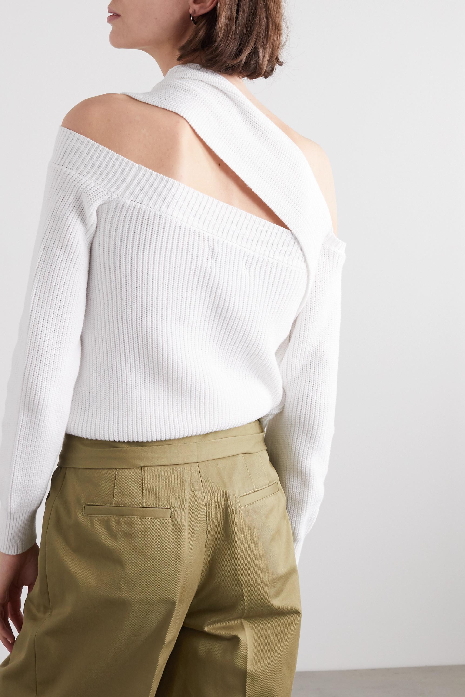 RtA Juliet one-shoulder draped cotton sweater
