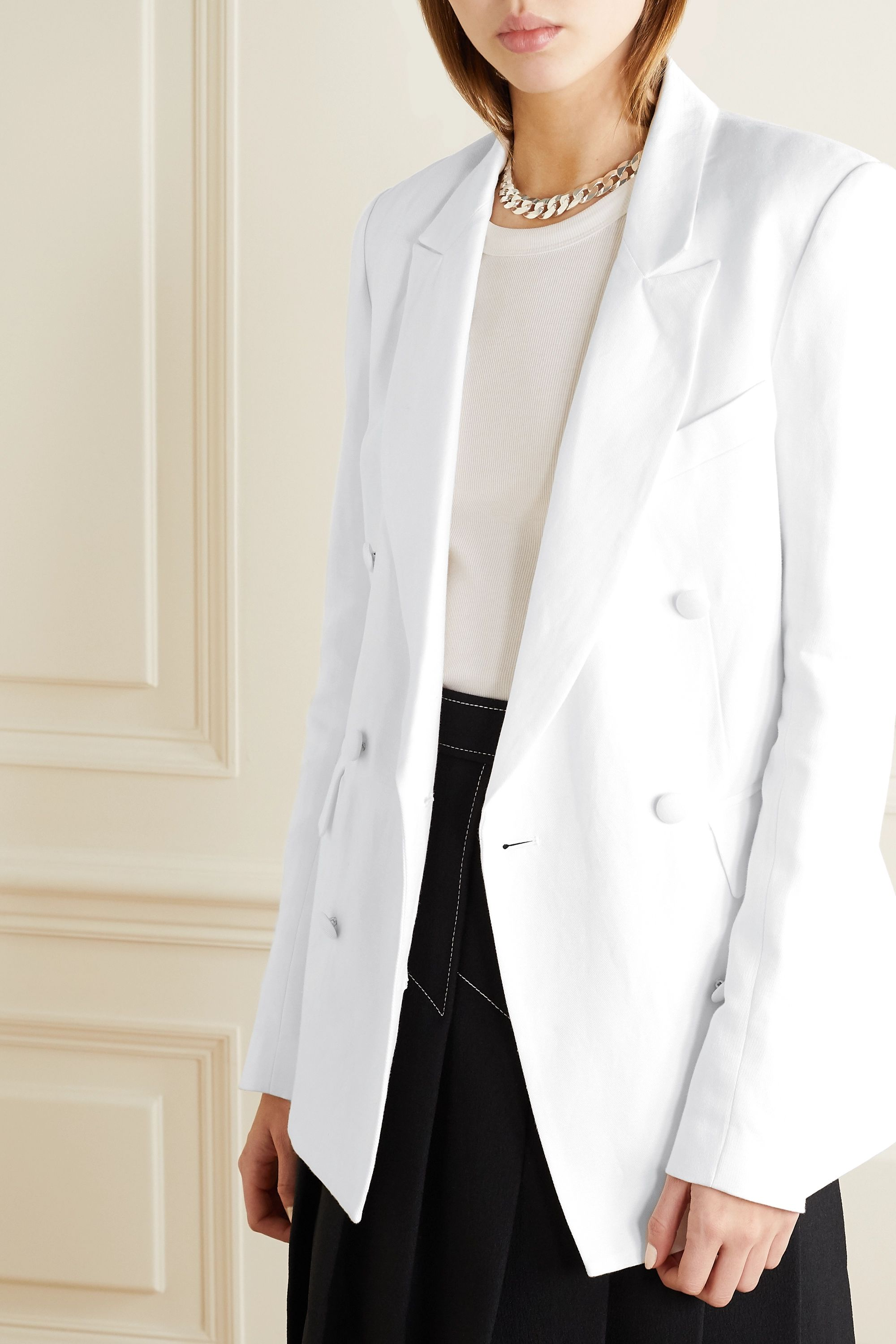 RtA Clark oversized double-breasted linen and cotton-blend twill blazer