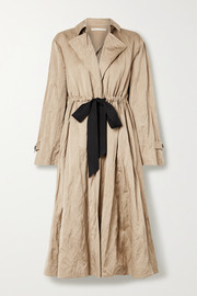 Tie-detailed washed-sateen trench coat