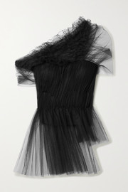 One-shoulder ruffled gathered tulle peplum top
