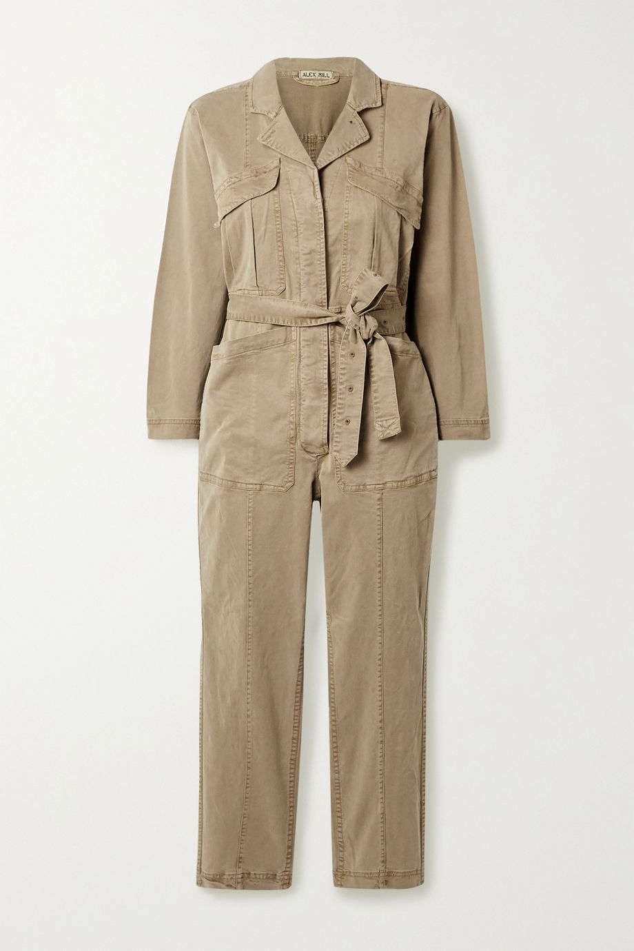 Alex Mill Expedition cropped belted stretch Tencel and cotton-blend twill jumpsuit