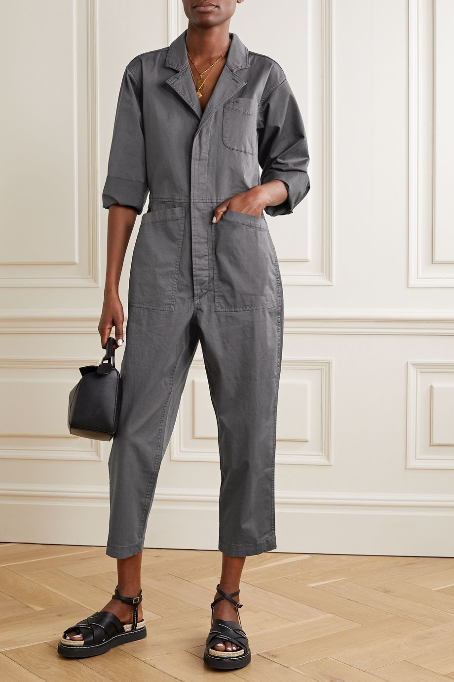 Alex Mill Standard 棉质混纺斜纹布九分连身裤