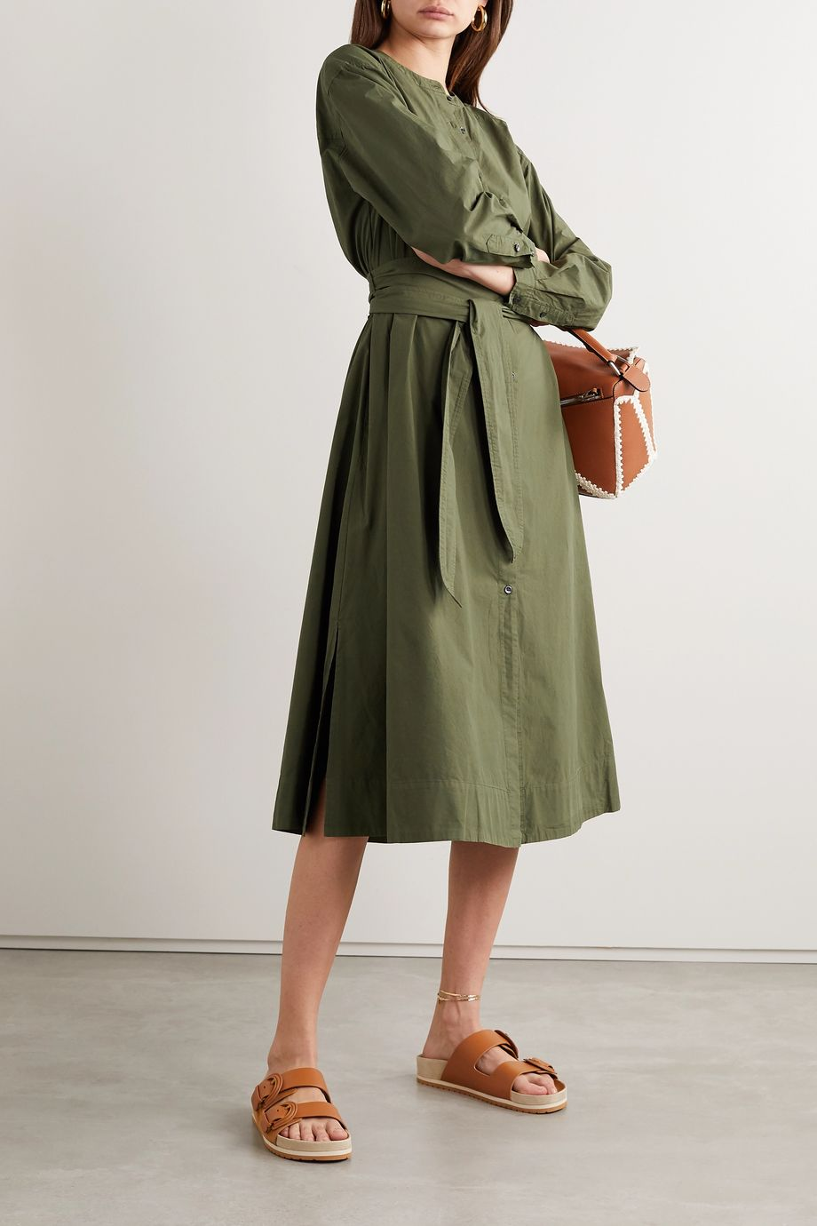 Alex Mill 配腰带纯棉府绸中长衬衫式连衣裙