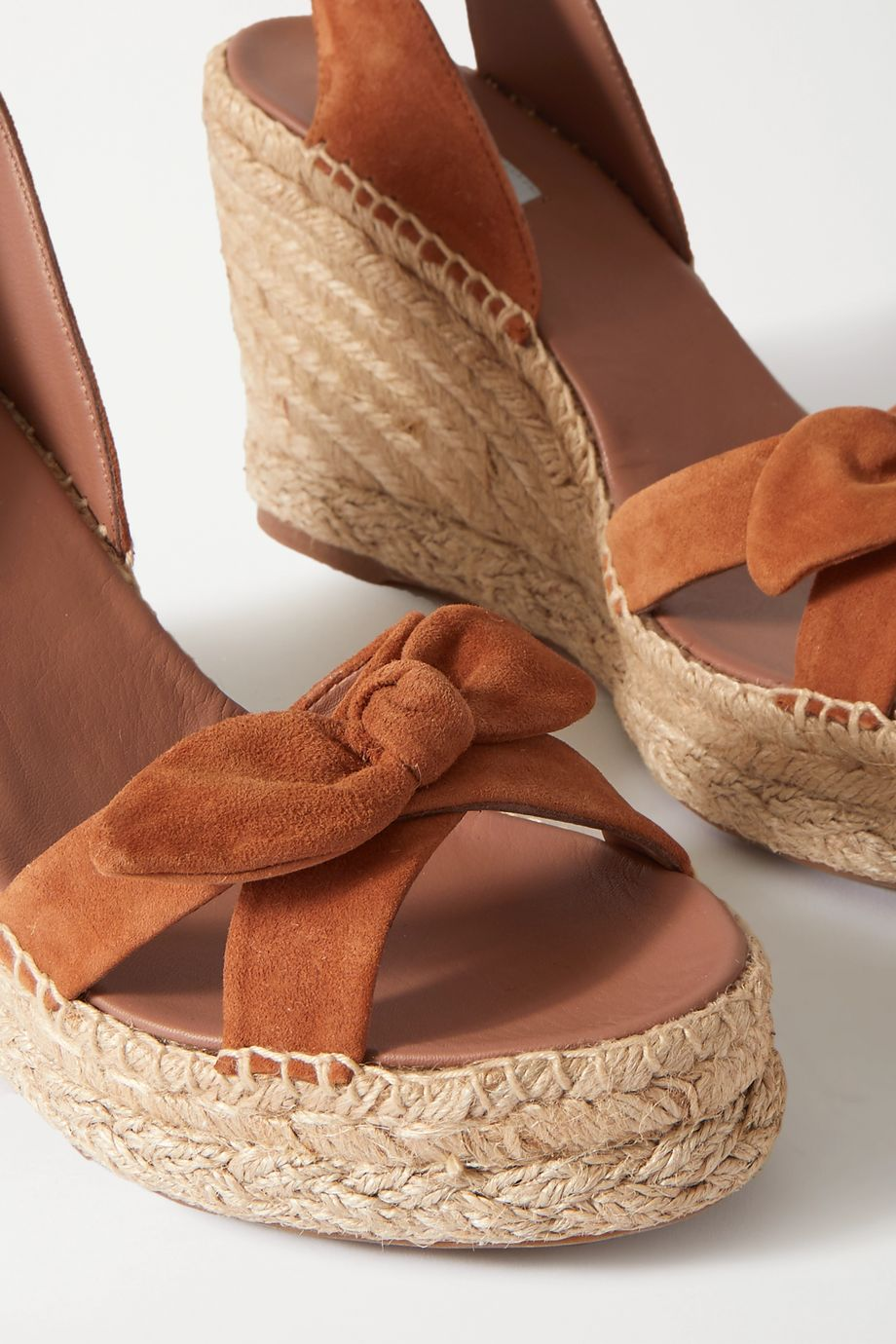 Tabitha Simmons Ross bow-detailed suede espadrille wedge sandals