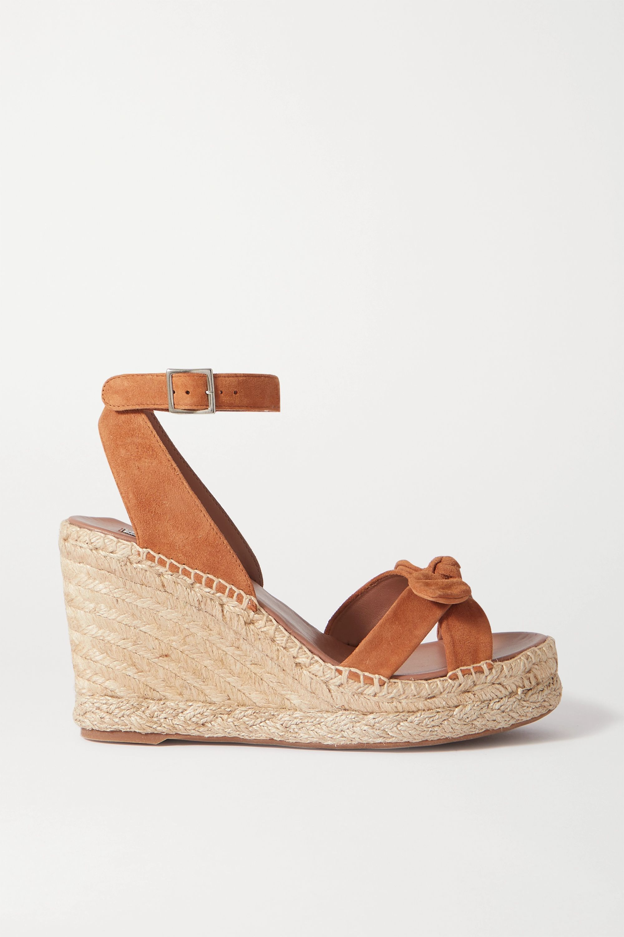 Tan Ross bow-detailed suede espadrille
