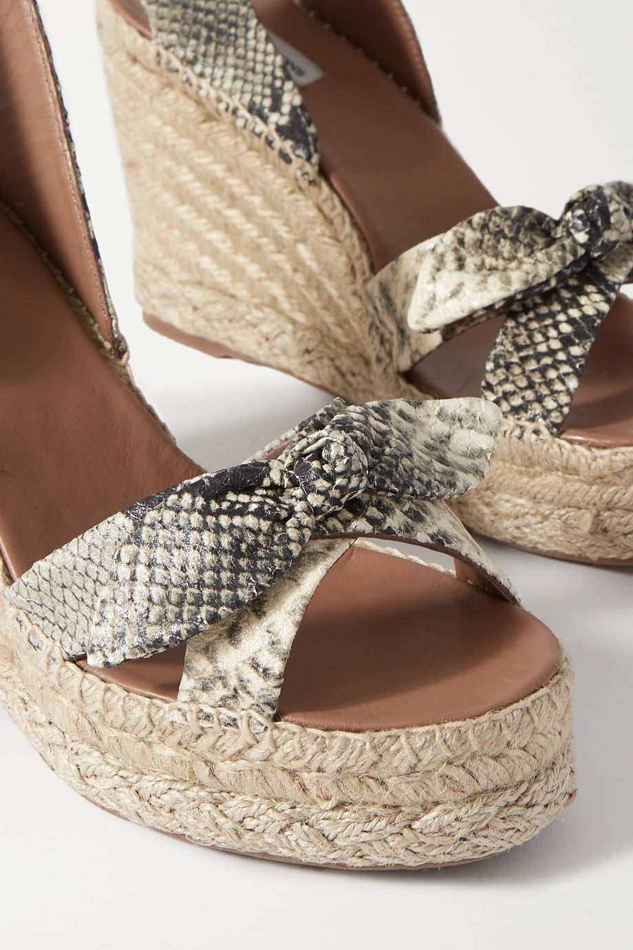 Tabitha Simmons Ross bow-embellished snake-effect leather espadrille wedge sandals