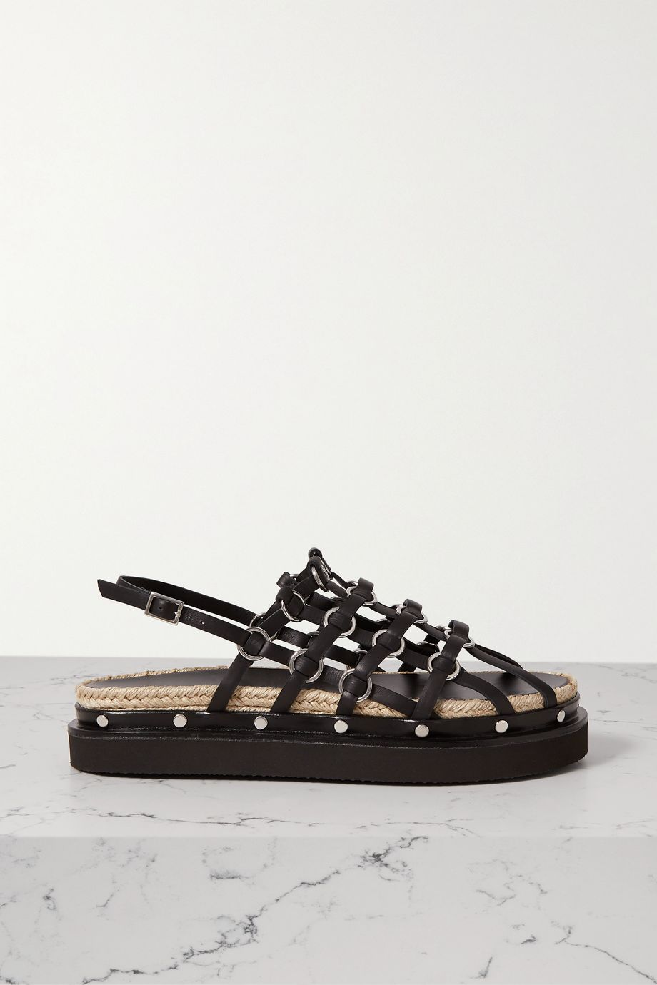 3.1 Phillip Lim Yasmine embellished leather slingback platform sandals