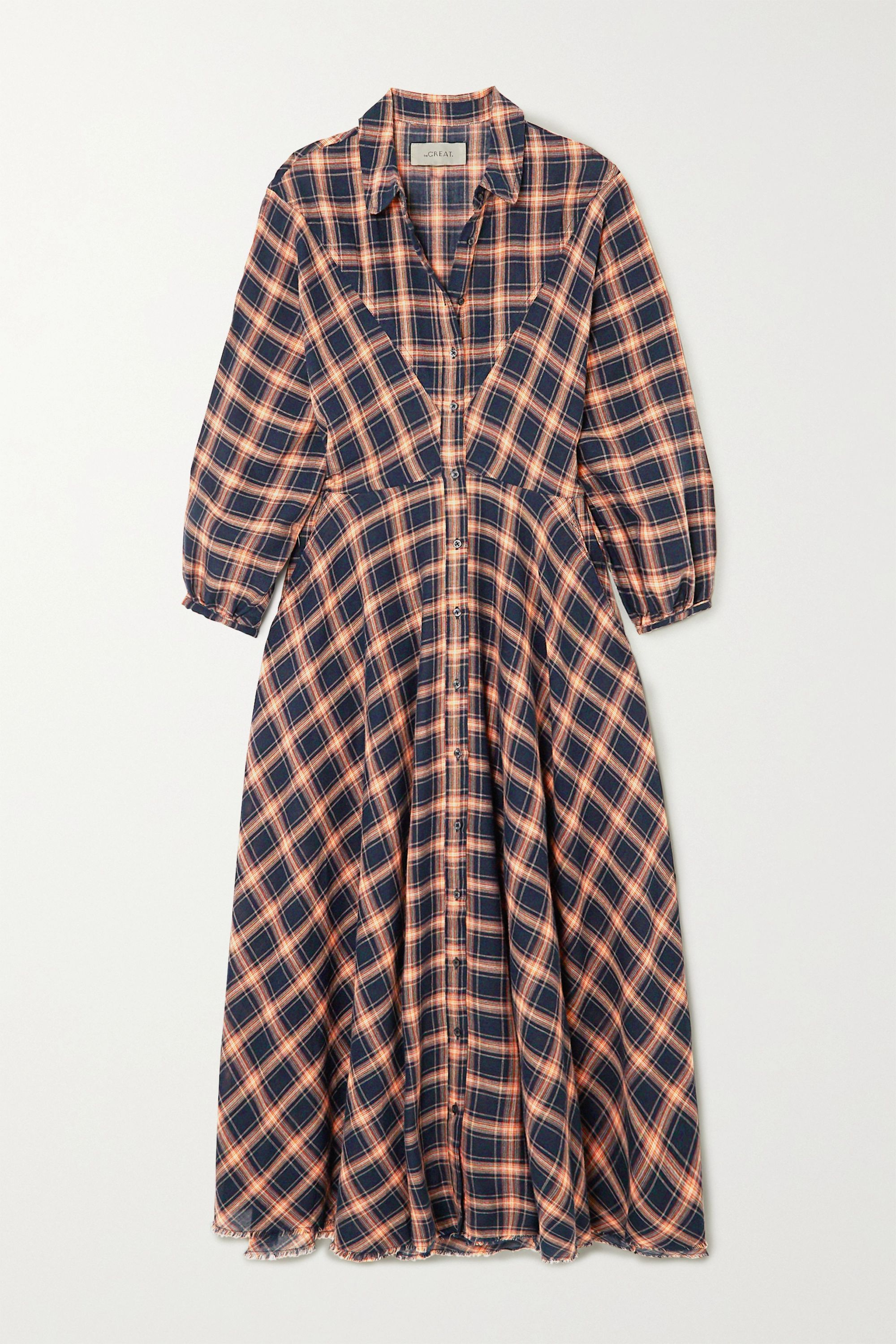 The Great The Western checked cotton-blend midi dress