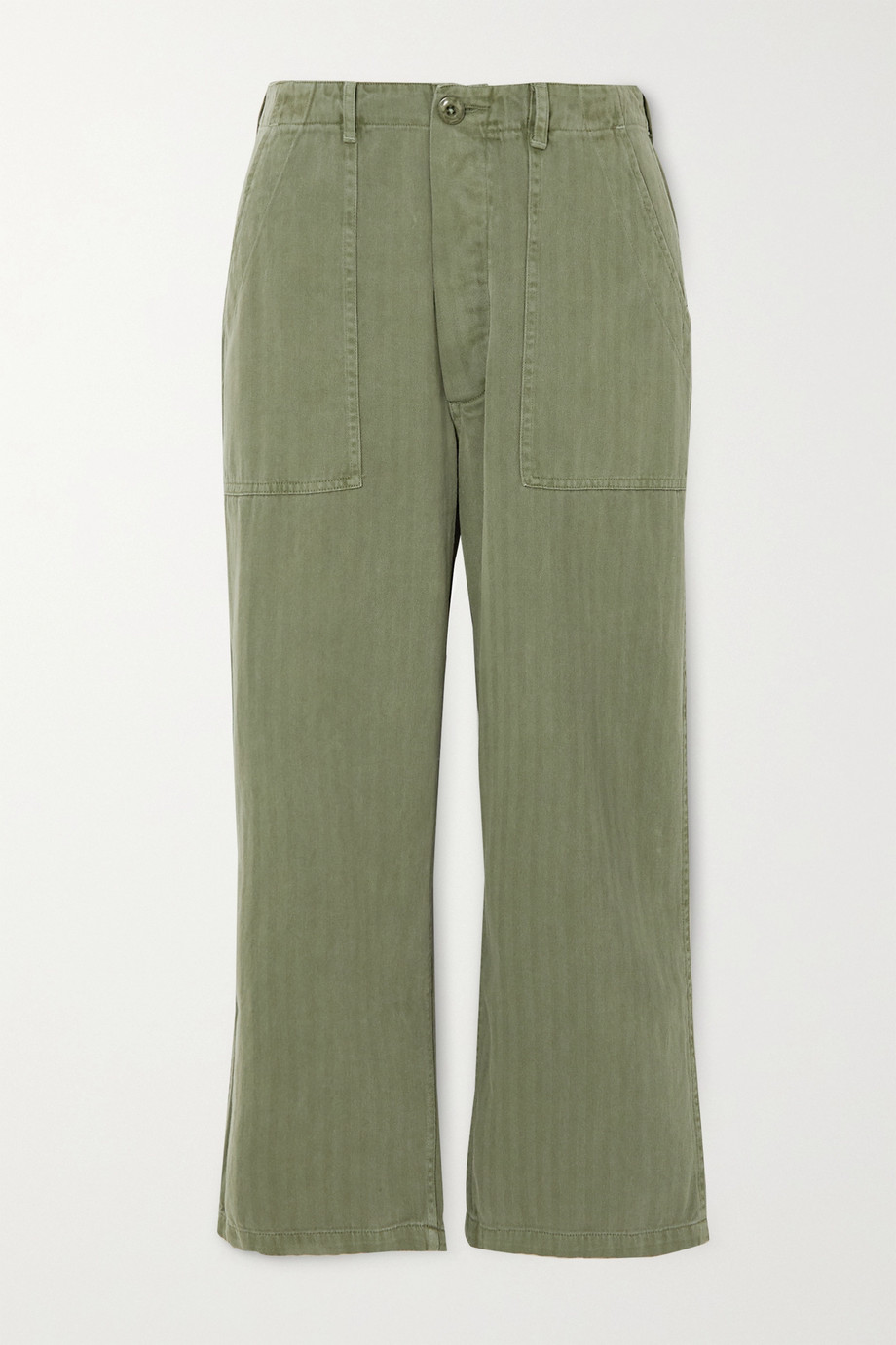 The Great The Herringbone Trooper cropped cotton straight-leg pants