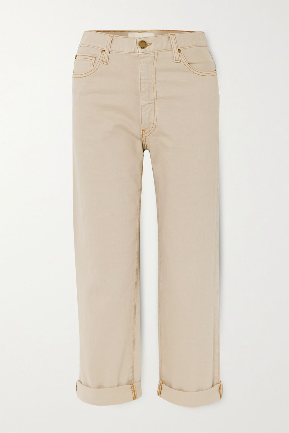 The Great The Easy Roll cropped high-rise straight-leg jeans