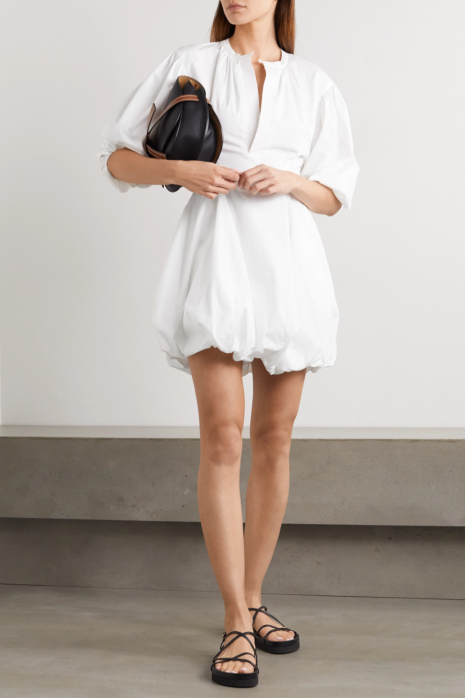 Bassike Gathered cotton-poplin mini dress