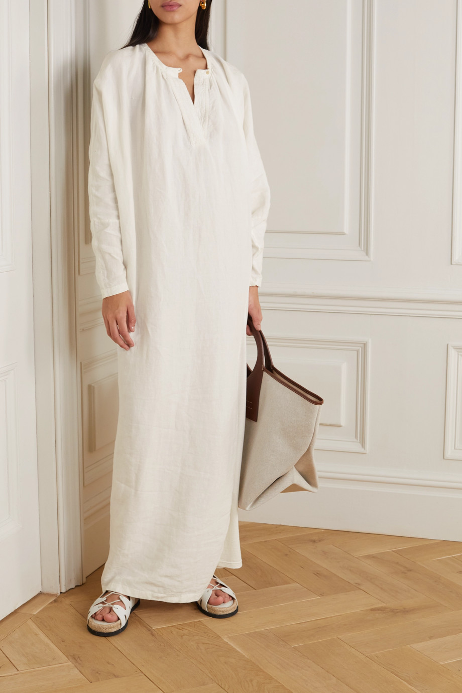 Bassike + Space For Giants linen and jersey maxi dress
