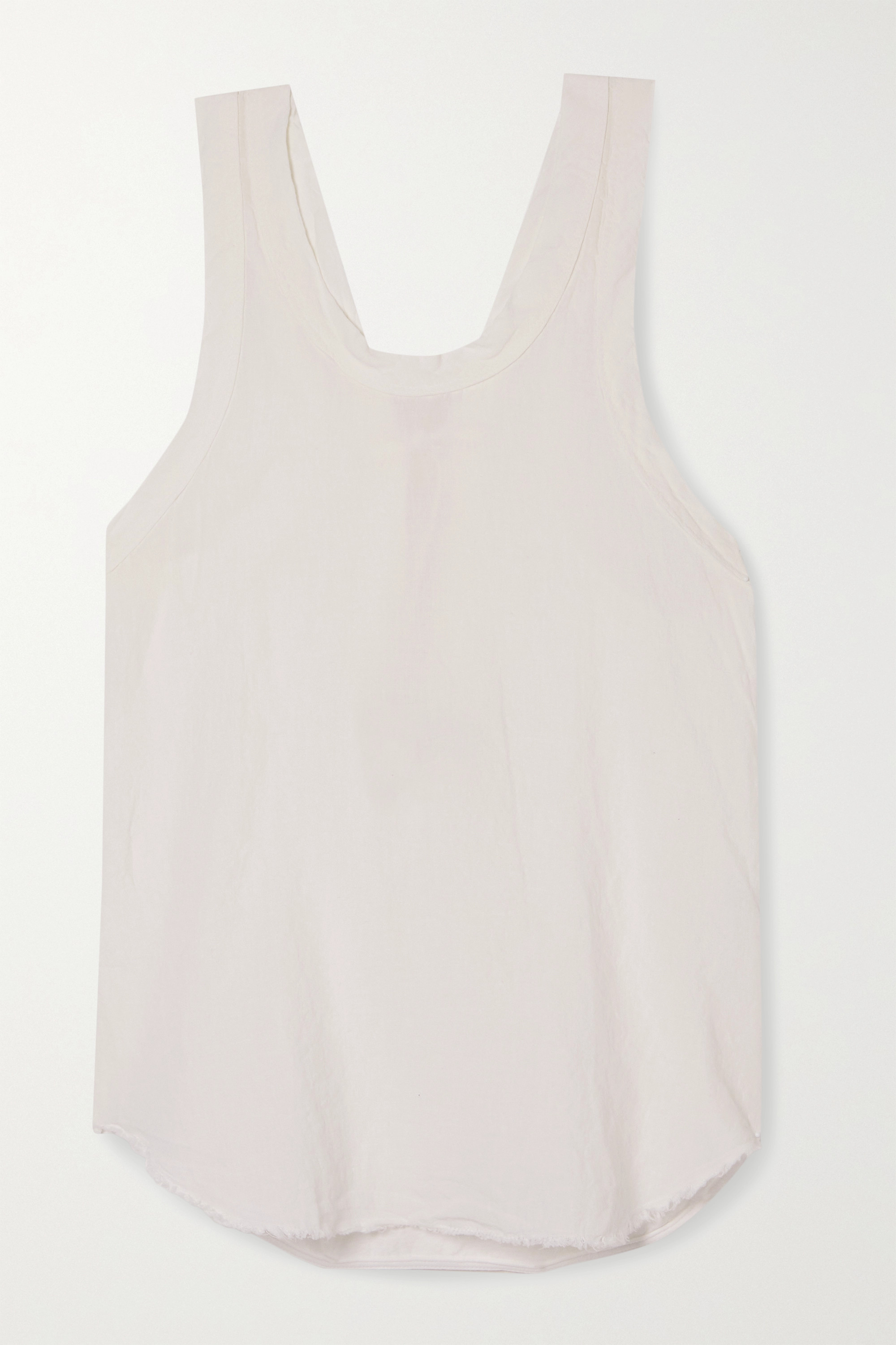 Bassike Organic Cotton-trimmed Frayed Linen-jersey Tank In White