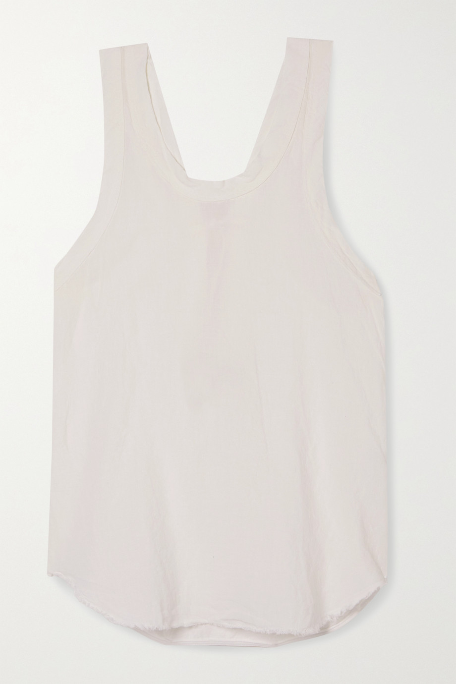 Bassike Organic cotton-trimmed frayed linen-jersey tank