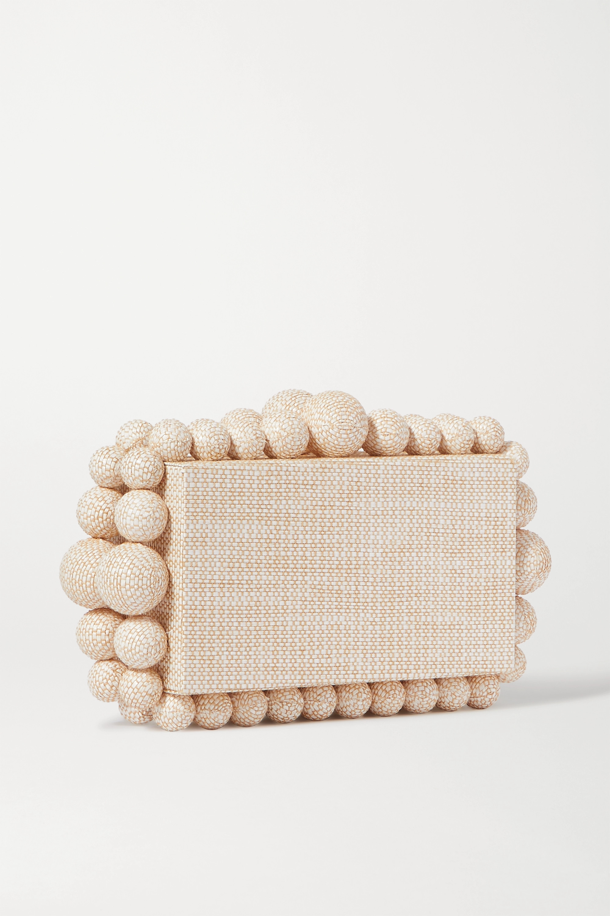 Cult Gaia Eos beaded woven raffia clutch
