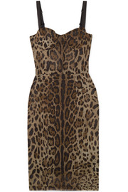 Dolce & Gabbana Abito leopard-print cotton and silk-blend tulle bustier dress
