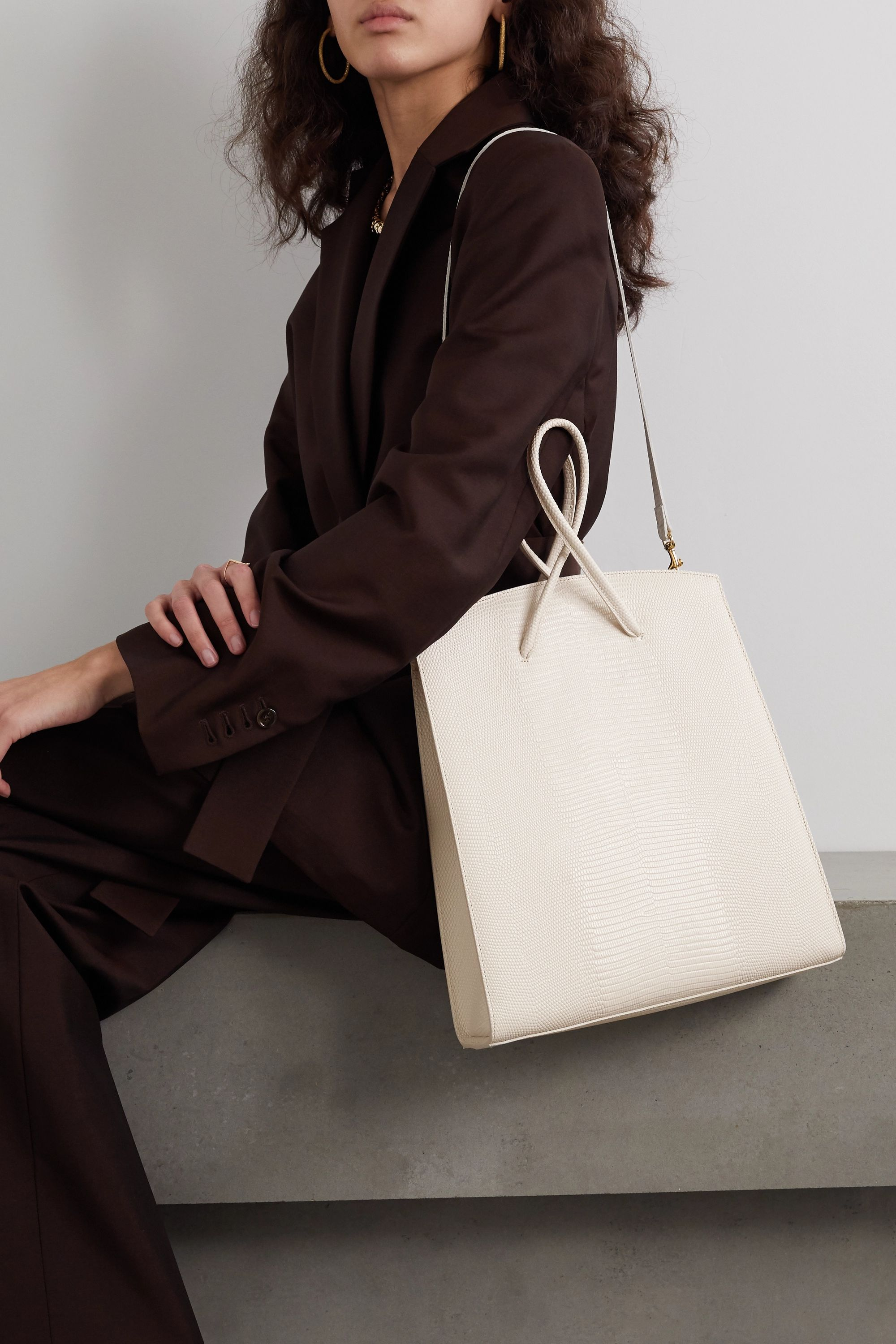Little Liffner Twisted lizard-effect leather tote