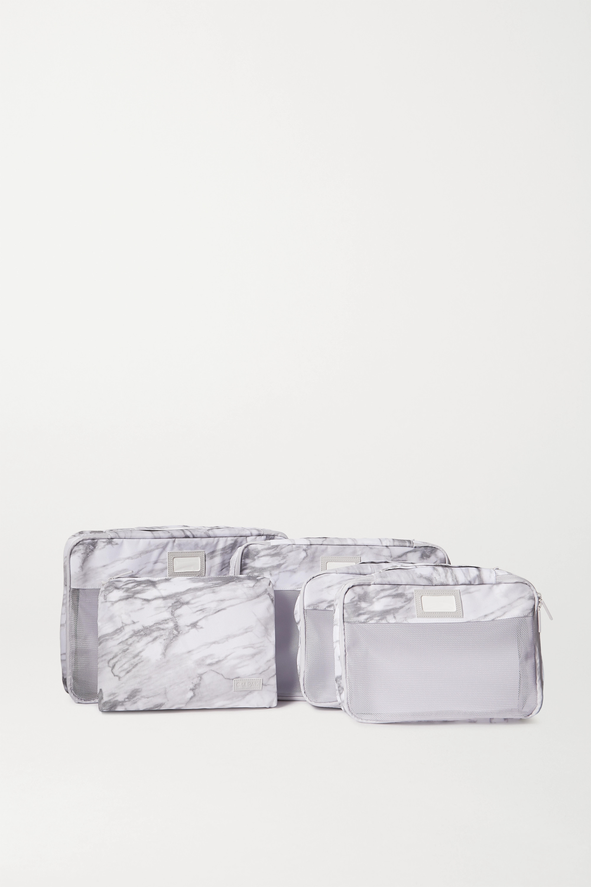 CALPAK Set of 5 marbled canvas and mesh packing cubes