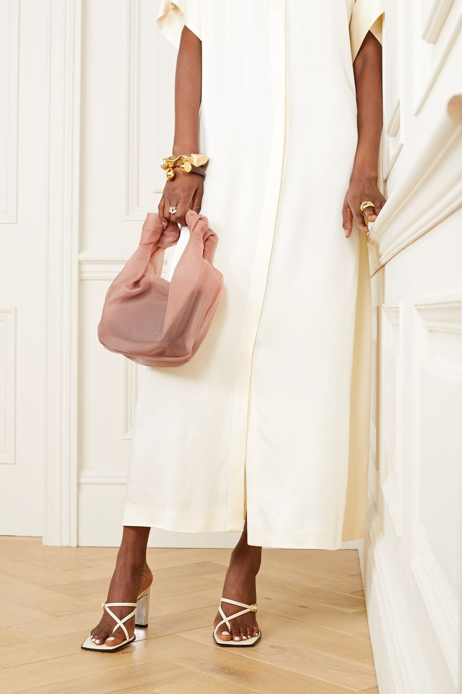 STAUD Beau layered tulle and croc-effect leather tote