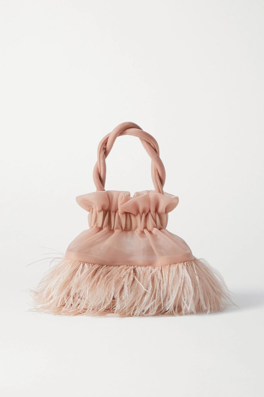 STAUD Grace feather-embellished tulle tote