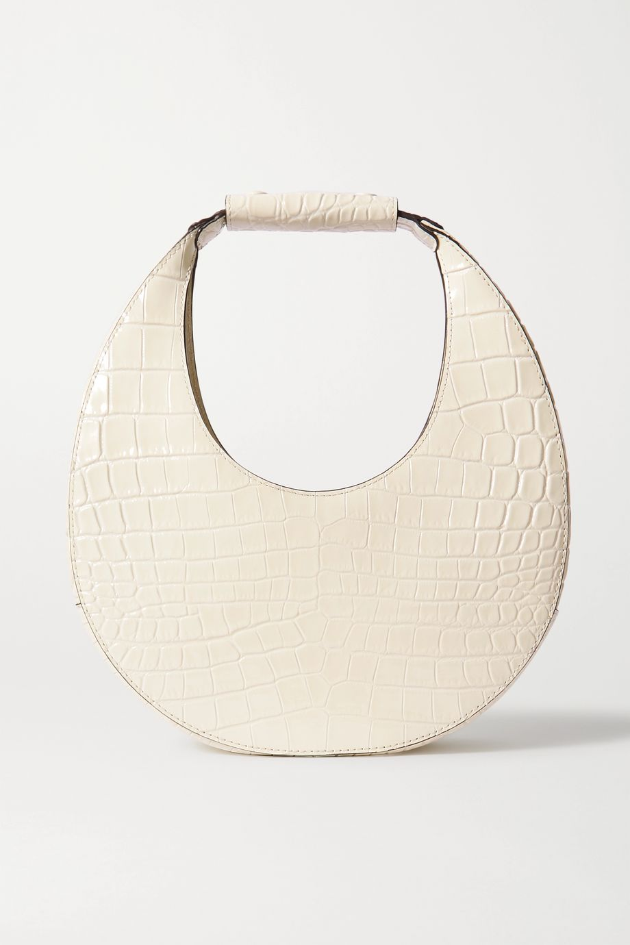 STAUD Moon croc-effect patent-leather tote