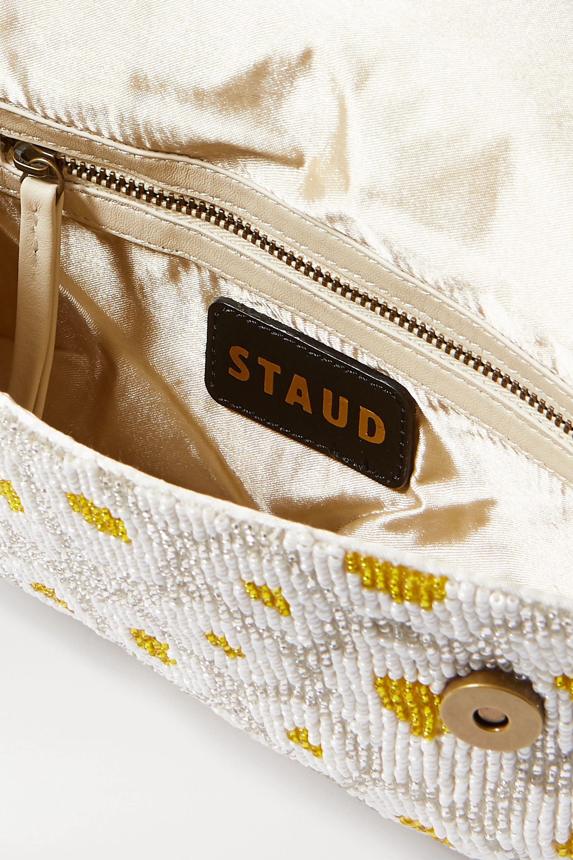 STAUD Tommy leather-trimmed beaded satin shoulder bag