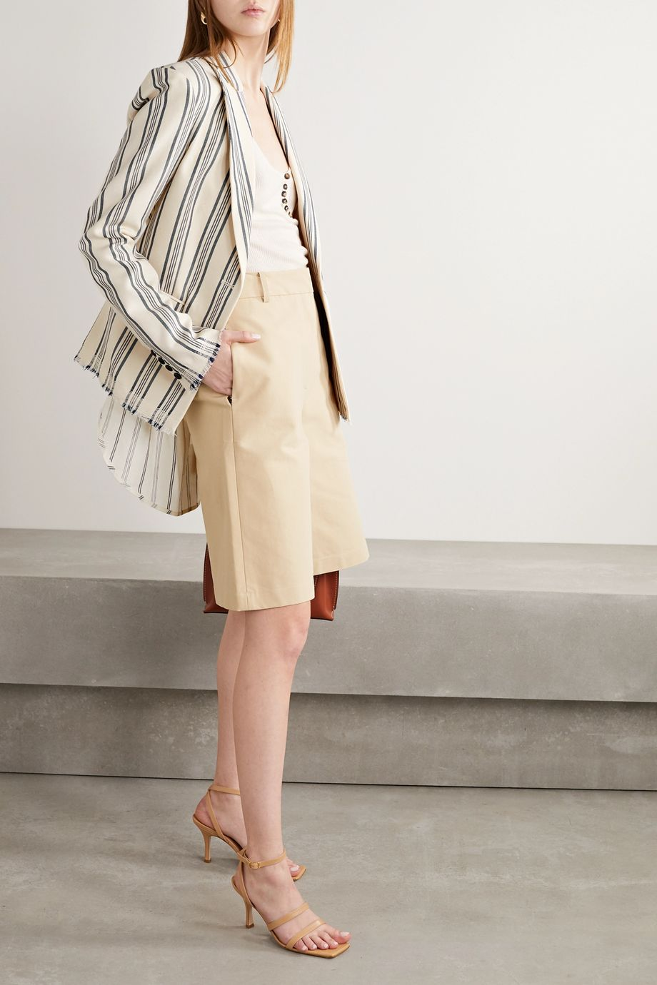Monse Paneled striped cotton-blend canvas and linen-blend blazer