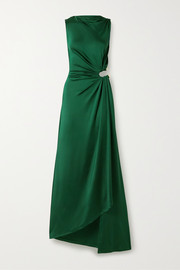 Cutout draped satin-jersey gown