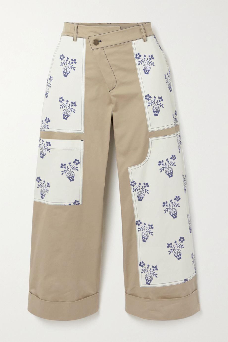 Monse Flower Pot cropped patchwork cotton-blend twill wide-leg pants