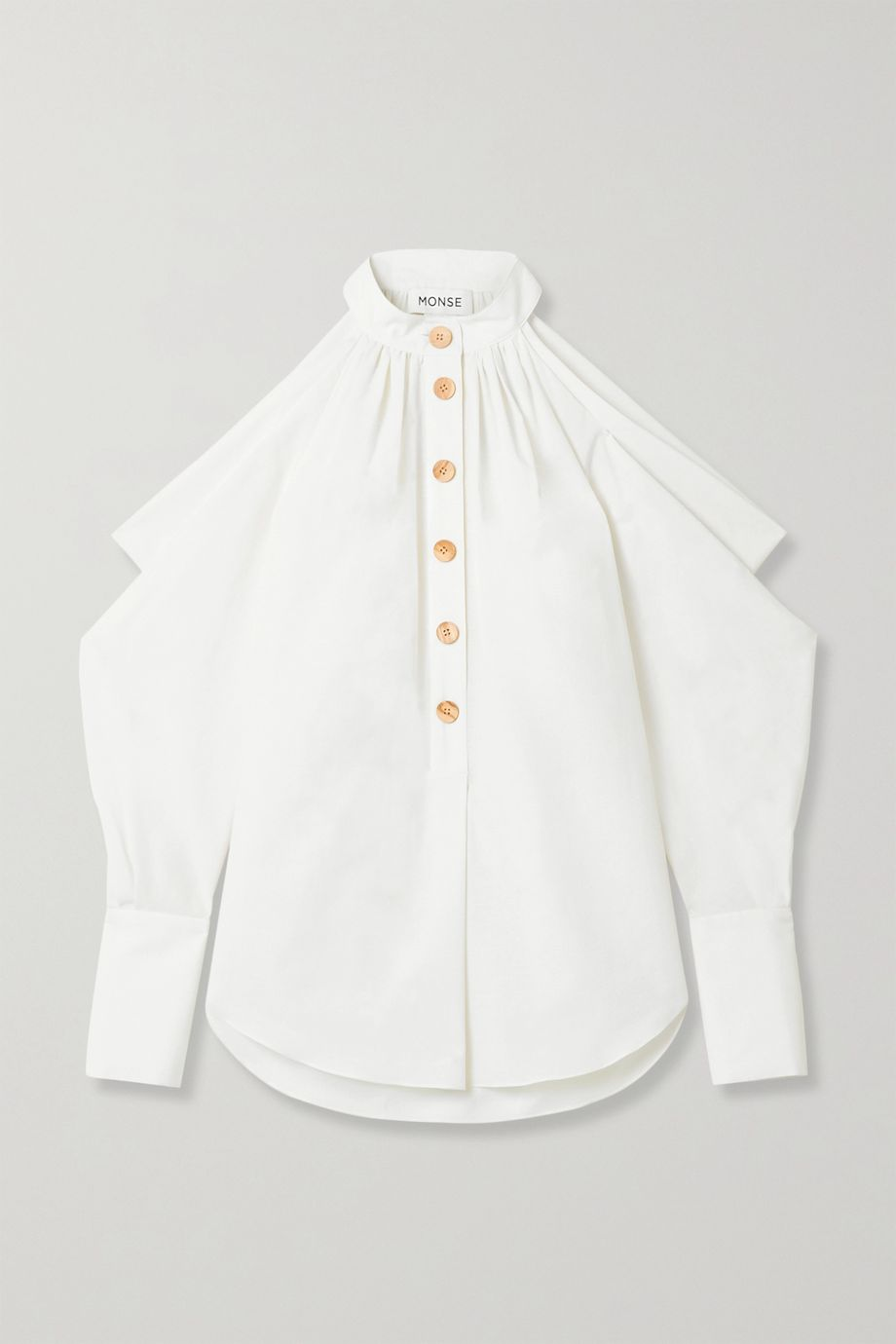 Monse Cold-shoulder cotton and linen-blend top