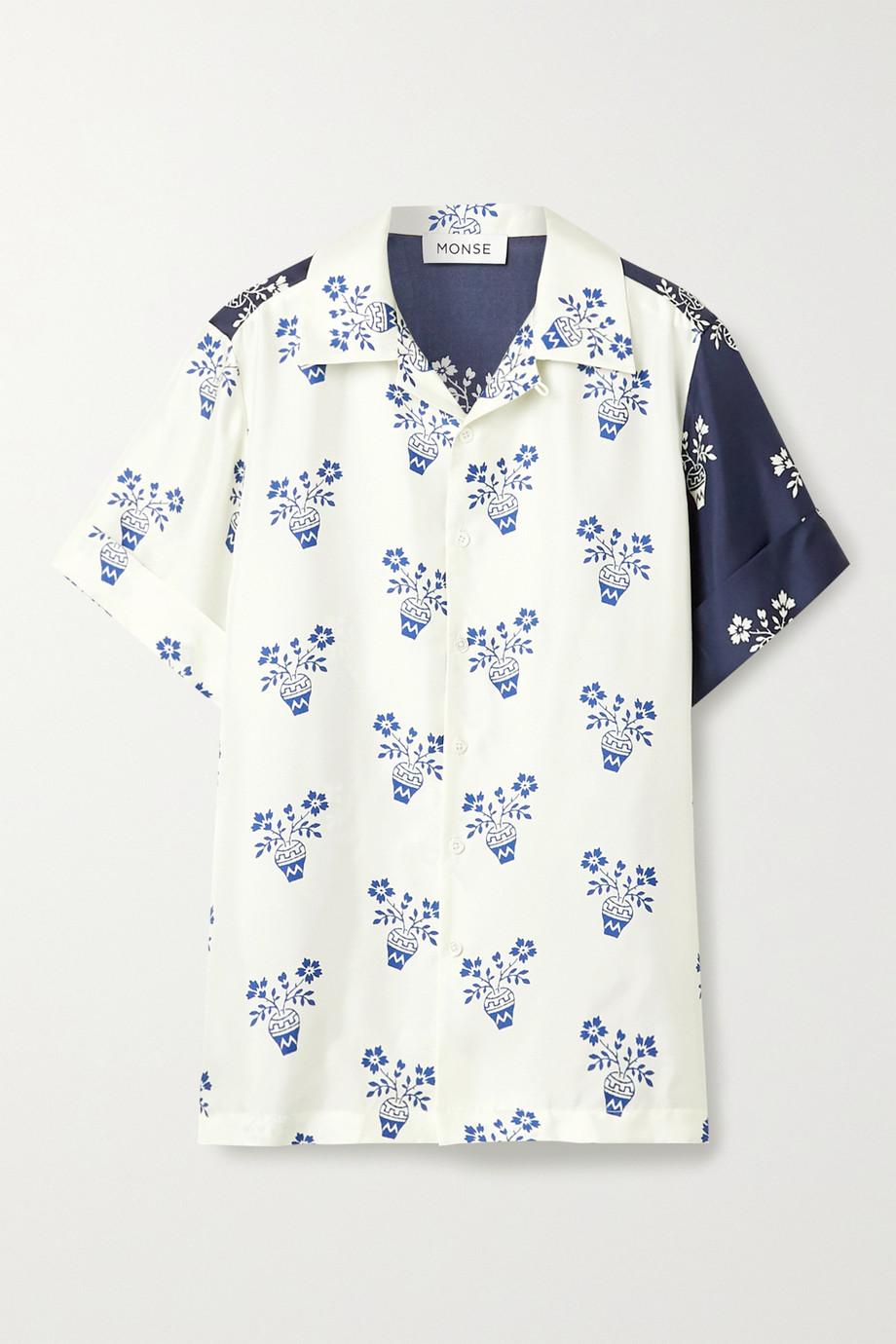 Monse Flower Pot paneled printed silk-twill shirt