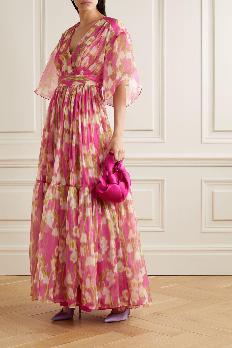 Carolina Herrera Tiered floral-print silk-crepon maxi dress