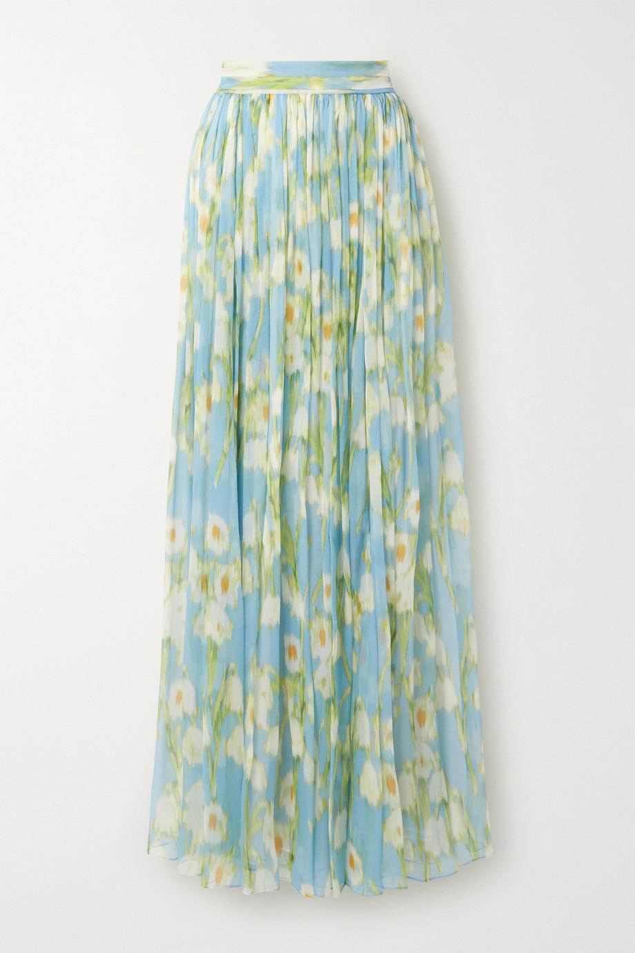Carolina Herrera Floral-print plissé-silk georgette maxi skirt
