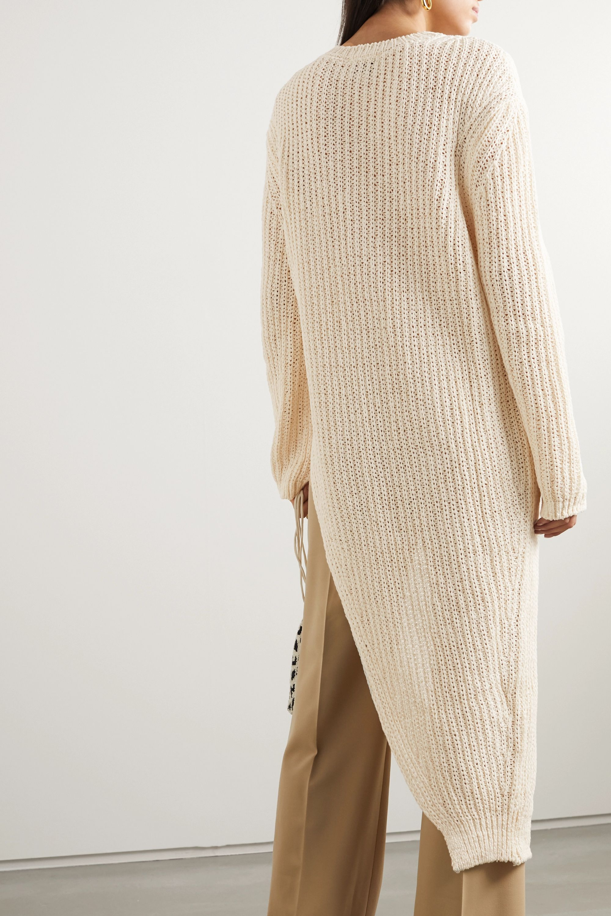 Nanushka Rodi asymmetric ribbed cotton-blend sweater