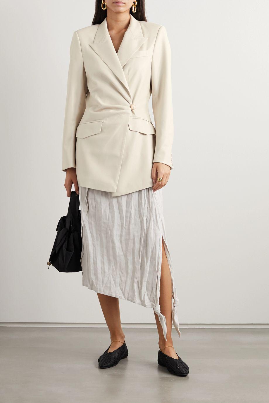 Nanushka Blair 缩褶双排扣纯素皮革西装外套