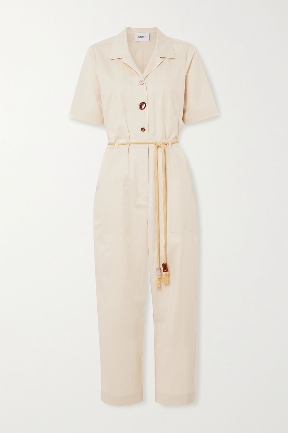 Nanushka Zuni belted embellished cotton-blend poplin jumpsuit